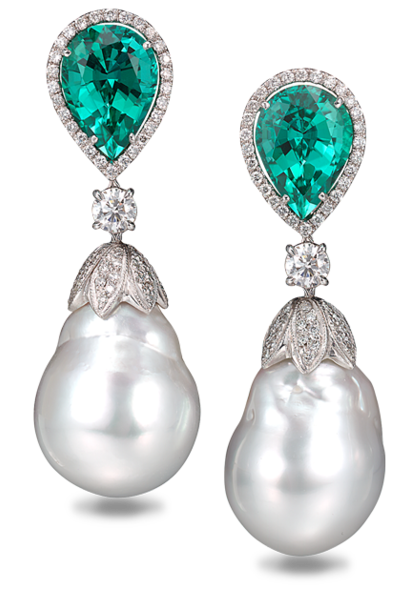 South Sea Baroque Pearls & Blue Green Tourmaline Earrings