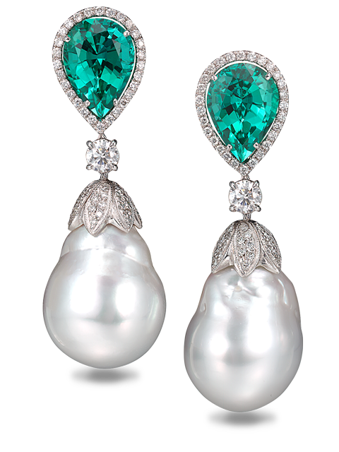 South Sea Baroque Pearls & Blue Green Tourmaline Earrings-1