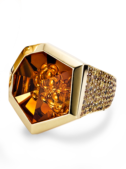 Citrine and Diamond Ring-1