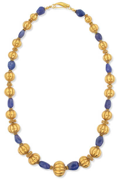 Tanzanite & Gold Ball Necklace 24""