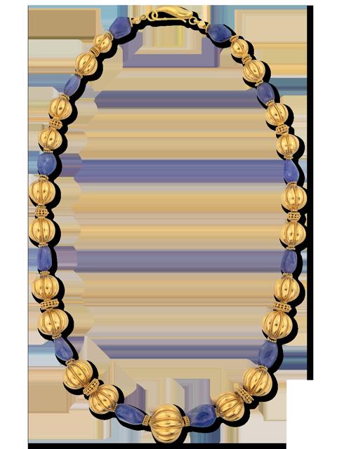 "Tanzanite & Gold Ball Necklace 24""-1"