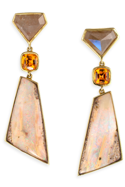 Diamond, Mandarin Garnet & Boulder Opal Earrings