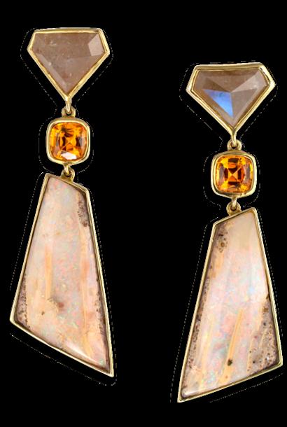 Diamond, Garnet & Opal Earrings
