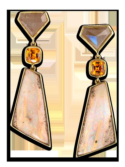 Diamond, Garnet & Opal Earrings-1