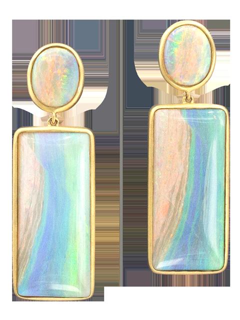 Mintabie and Crystal Opal Earrings-1