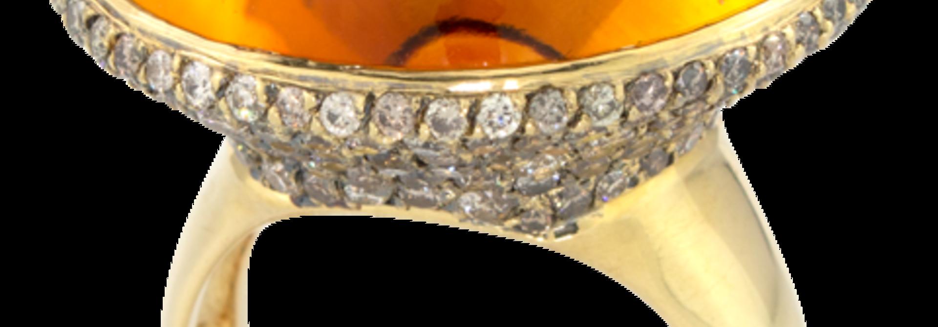 Citrine & Brown Diamond Ring