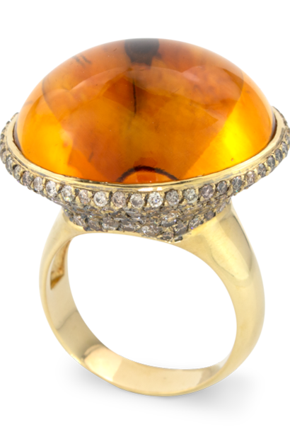 Citrine & Brown Diamond Ring