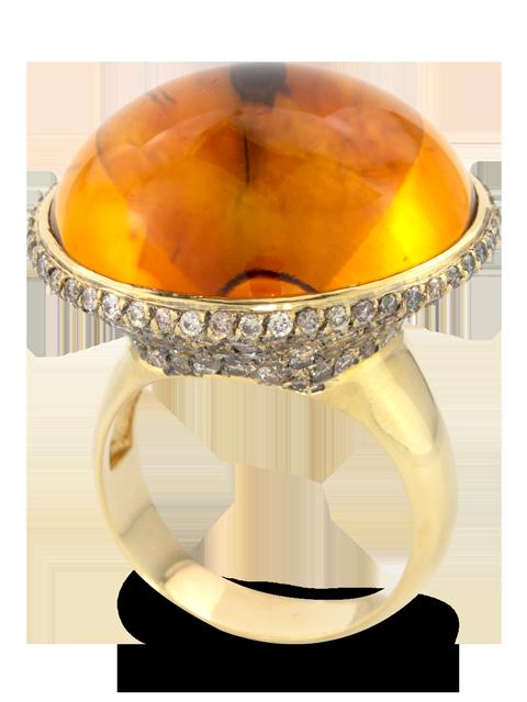 Citrine & Brown Diamond Ring-1