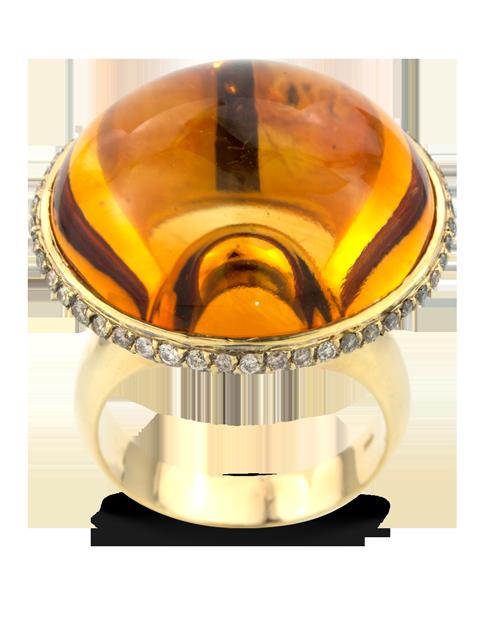 Citrine & Brown Diamond Ring-3