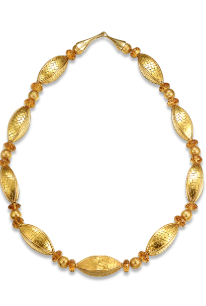 Citrine & Gold Necklace - 26""