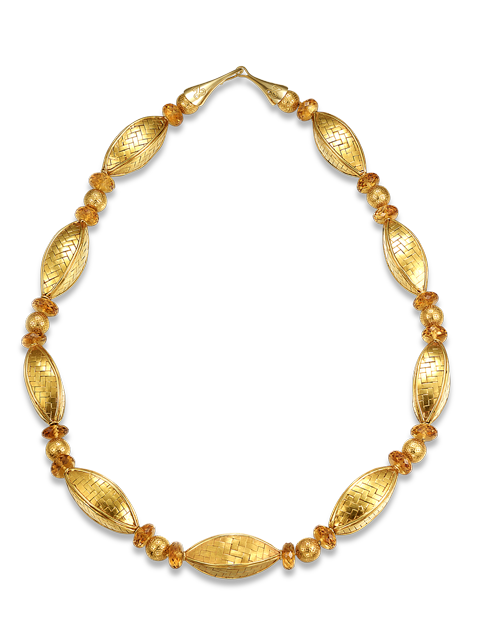 "Citrine & Gold Necklace - 26""-1"