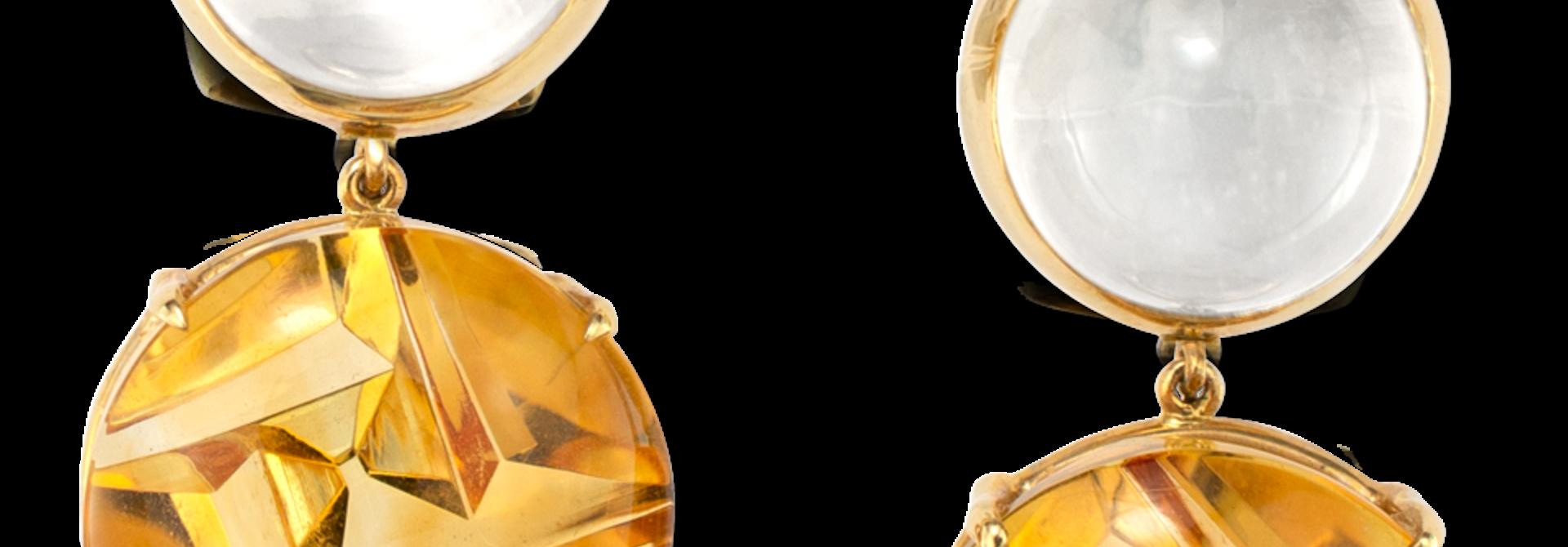 Moonstone & Citrine Earrings