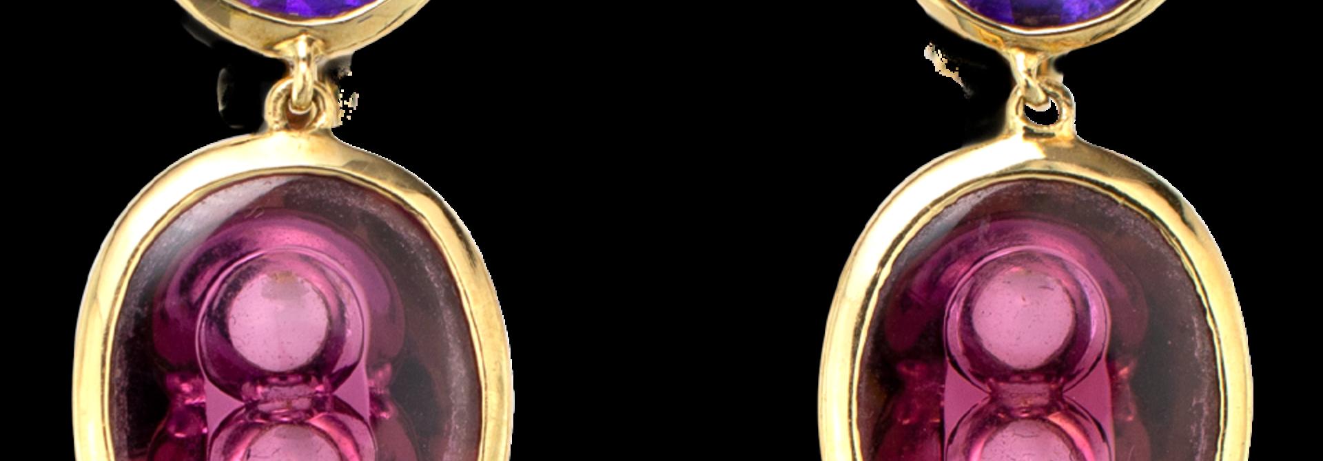 Amethyst and Rubellite Tourmaline Earrings