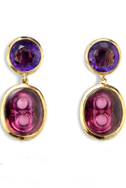 Amethyst and Rubellite Tourmaline Earrings