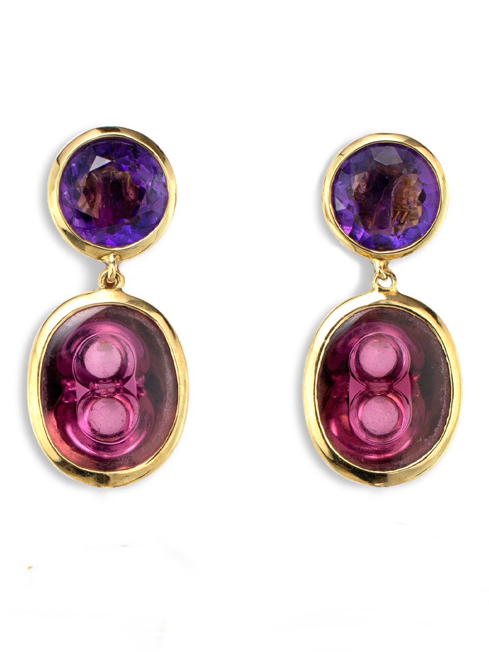 Amethyst and Rubellite Tourmaline Earrings-1