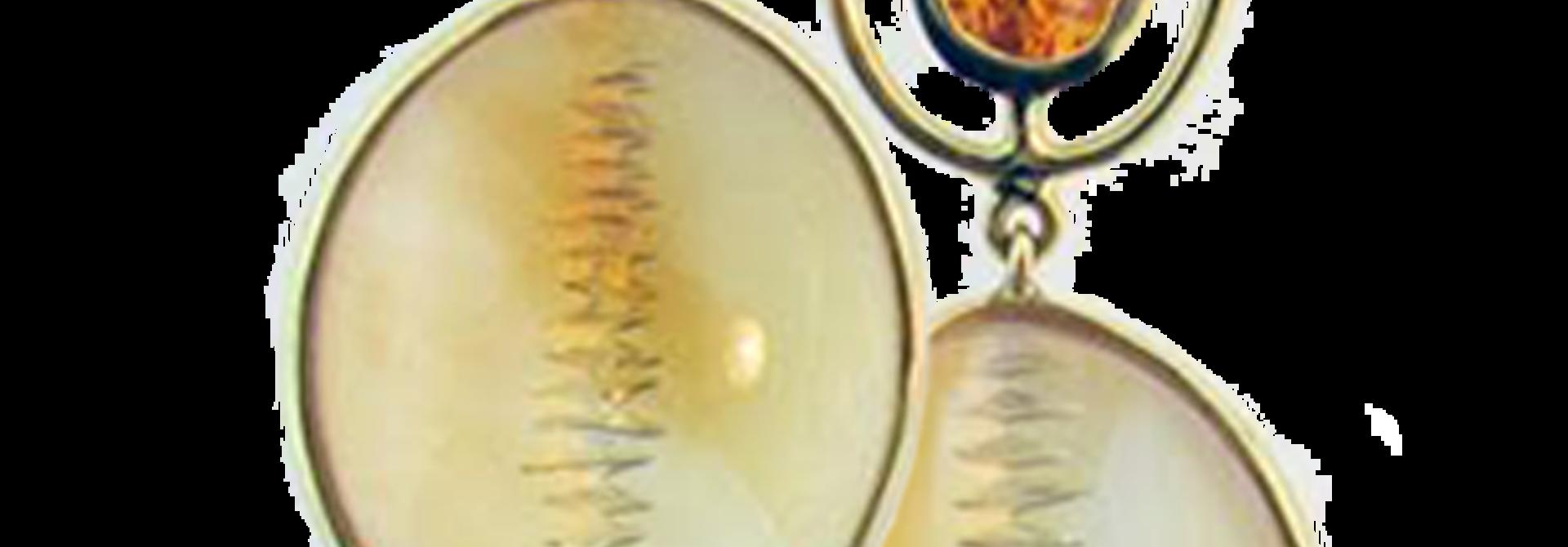 Mandarin Garnet and Citrine Earrings