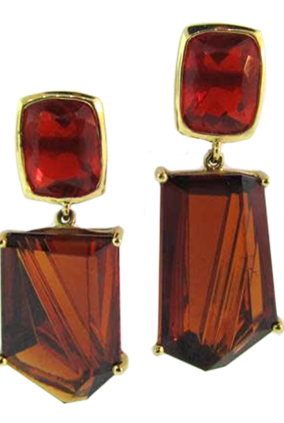 Fire Opal & Spessartite Garnet Earrings