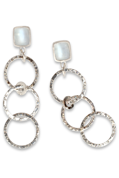 Moonstone & Diamond Hammered White Gold Hoop Earrings