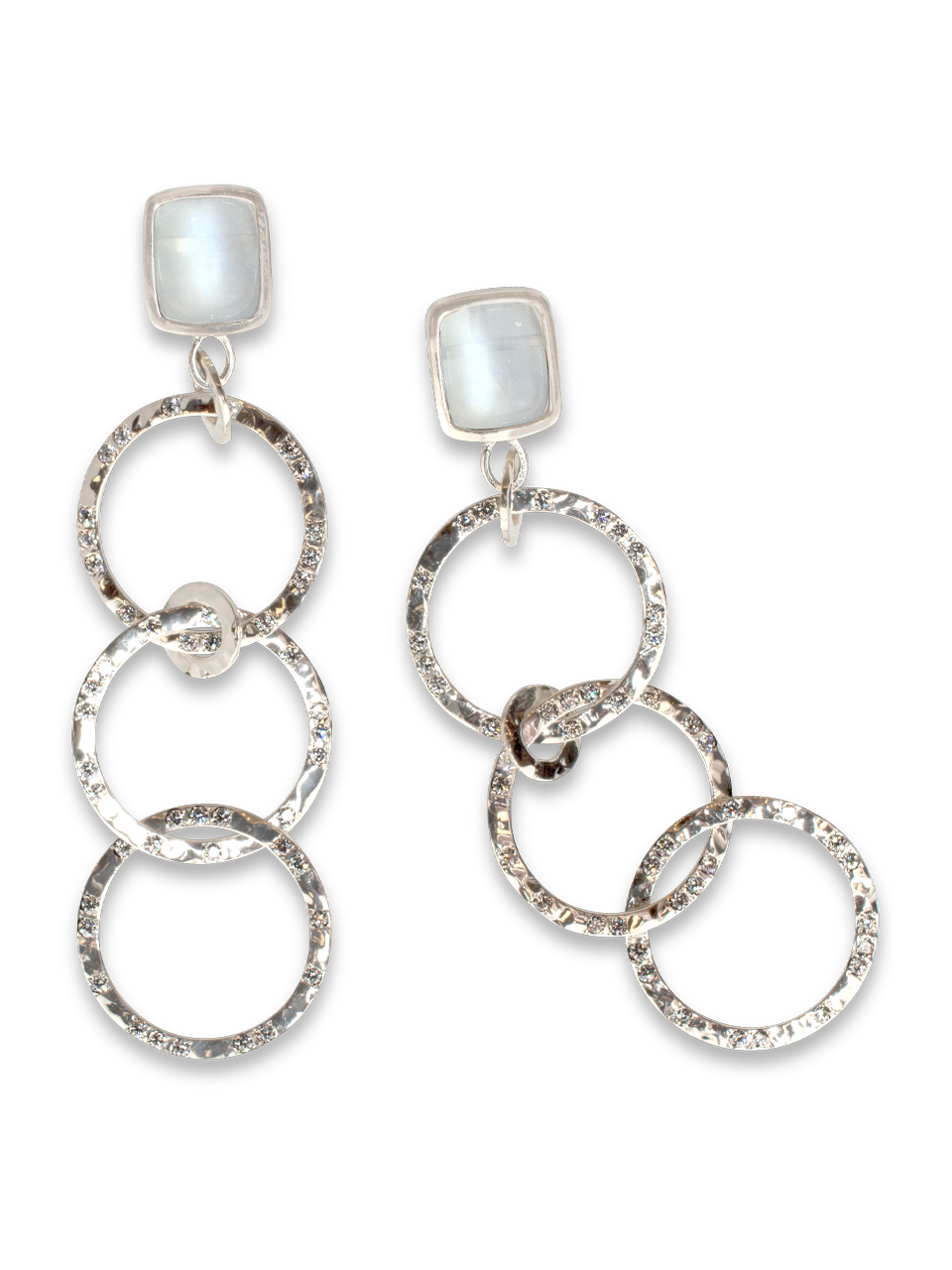 Moonstone & Diamond Hammered White Gold Hoop Earrings-1