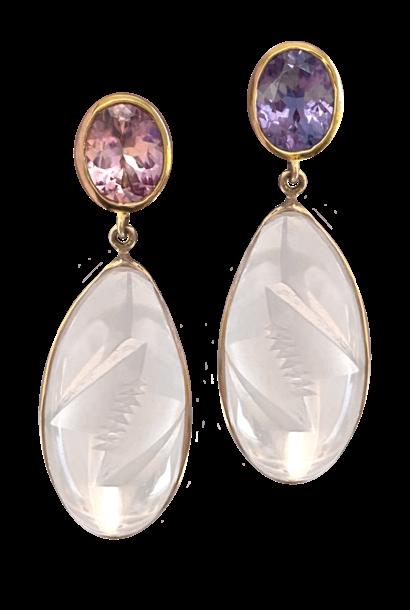 Spinel & Pink Quartz Earrings