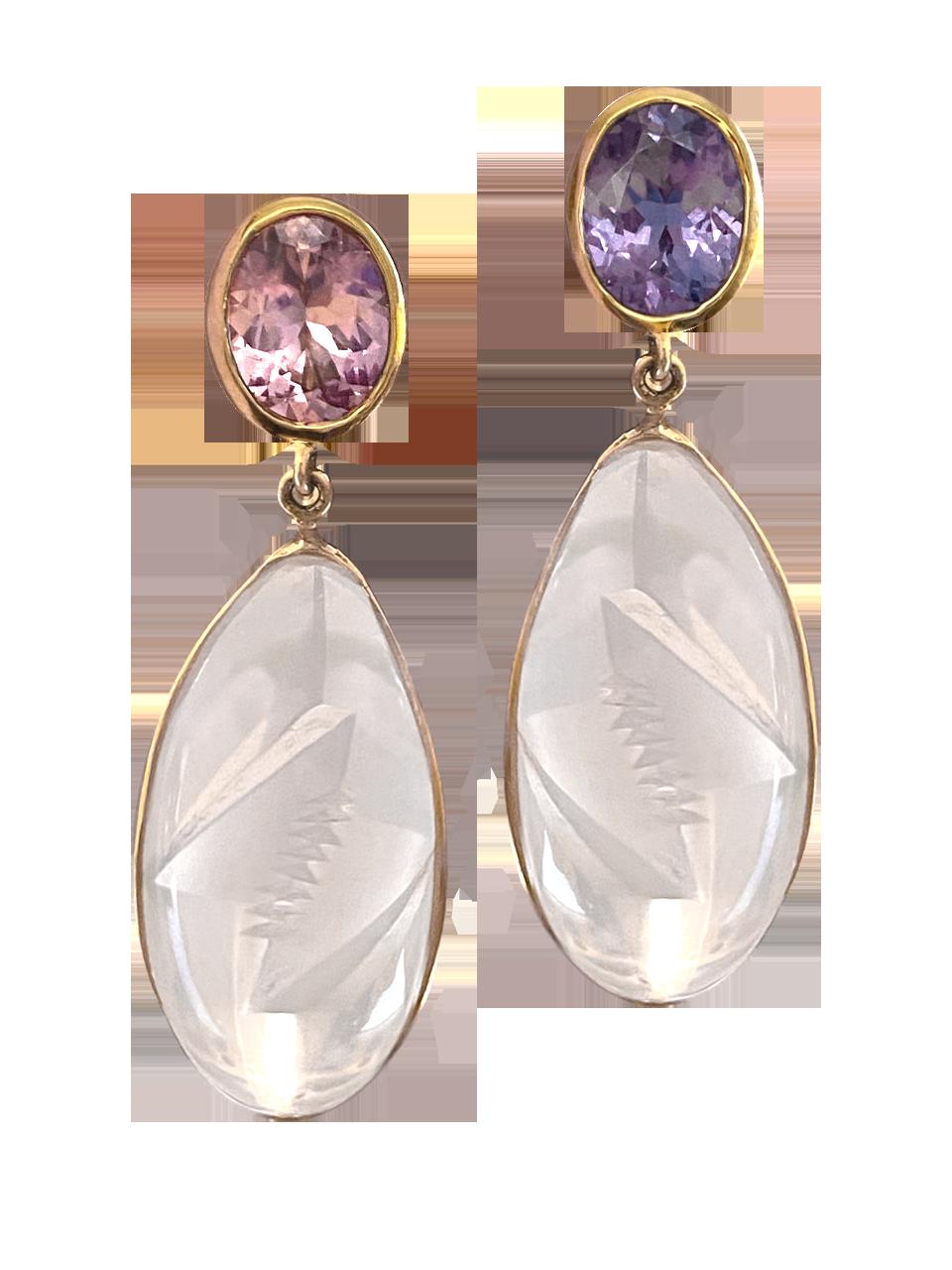 Spinel & Pink Quartz Earrings-1