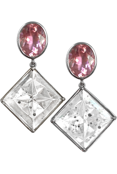 Pink Tourmaline and Quartz with Pyrite Crystal Earrings
