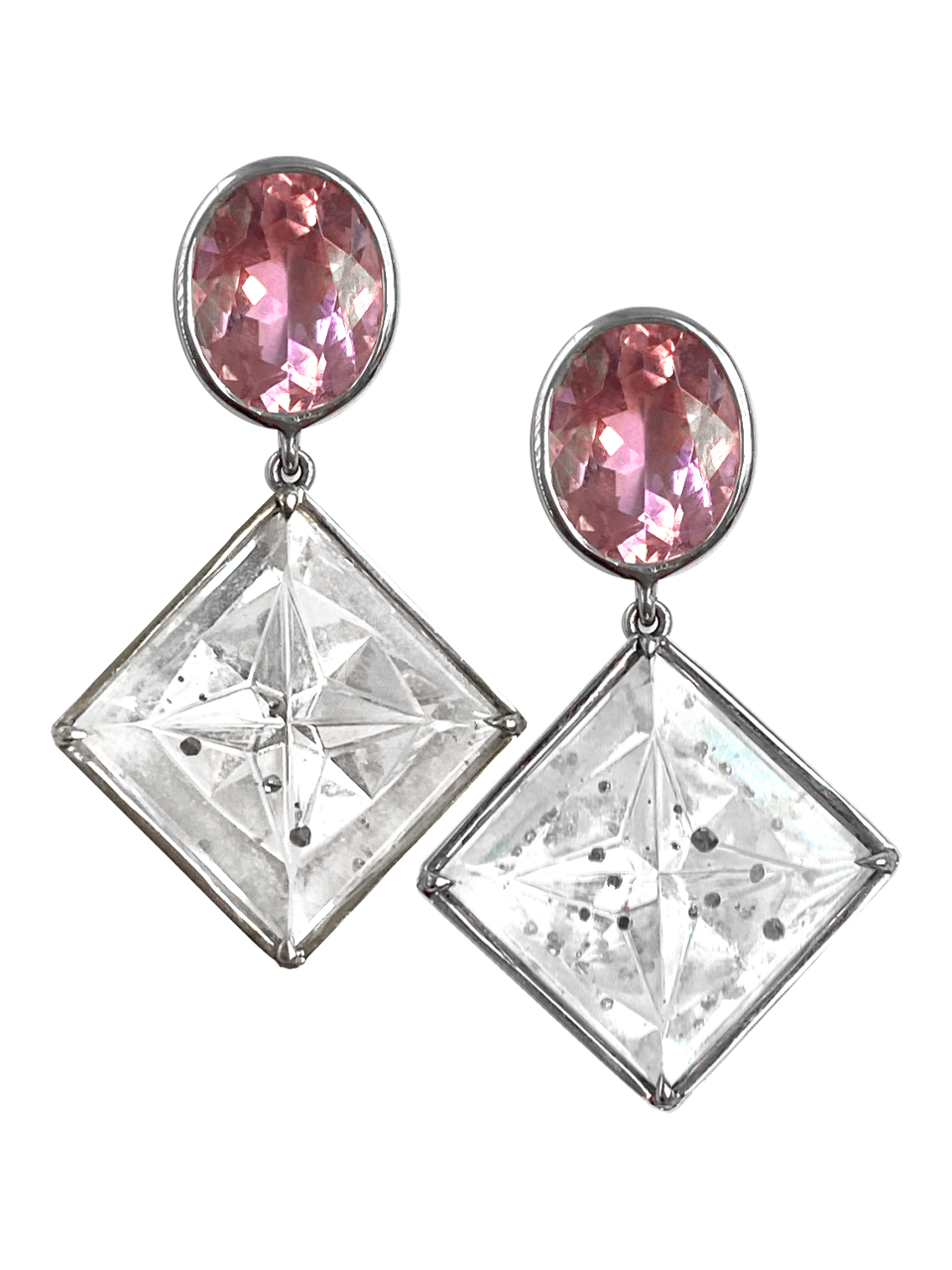 Pink Tourmaline and Quartz with Pyrite Crystal Earrings-1