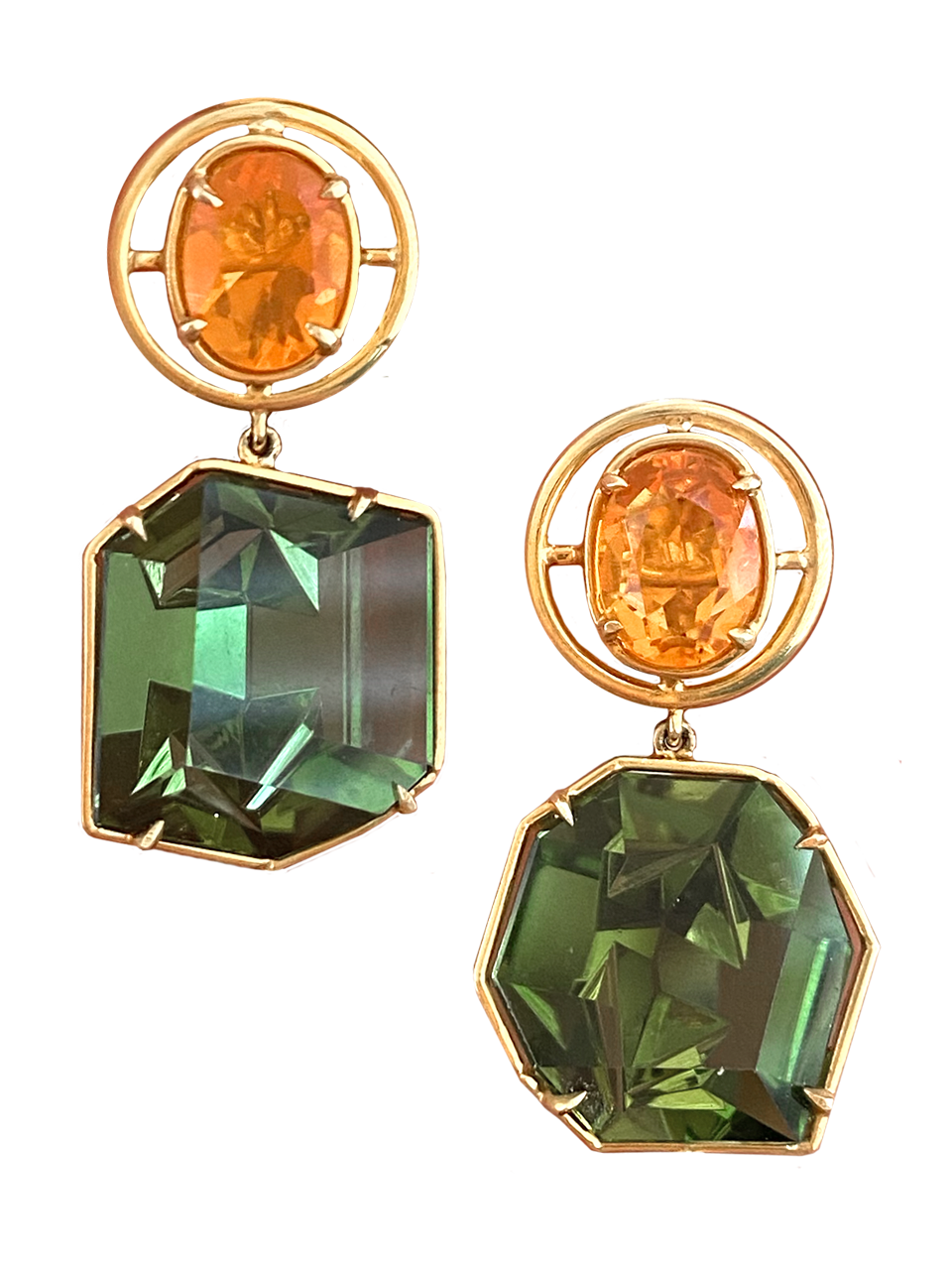 Fire Opal & Green Tourmaline Earrings-1