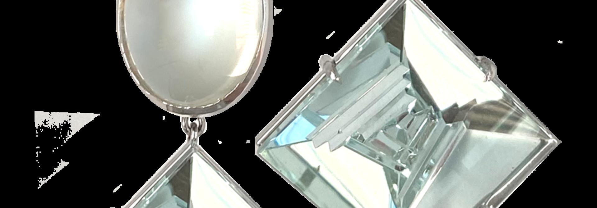 Moonstone & Aquamarine Earrings