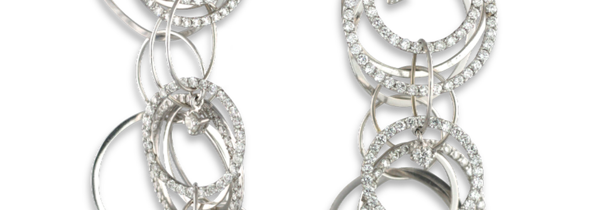 18k White Gold and Diamond Multi-Hoop Link Earrings
