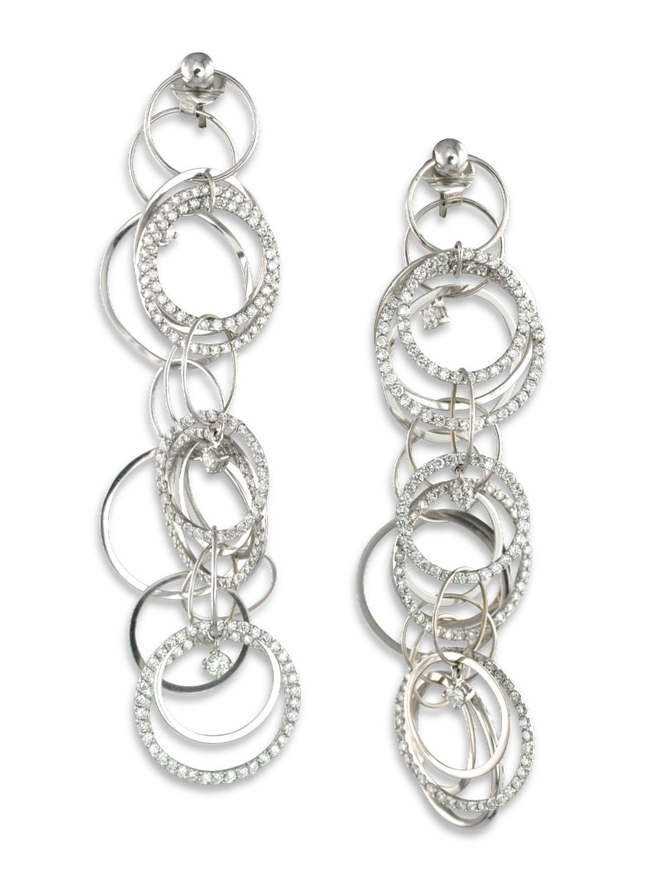 18k White Gold and Diamond Multi-Hoop Link Earrings-1