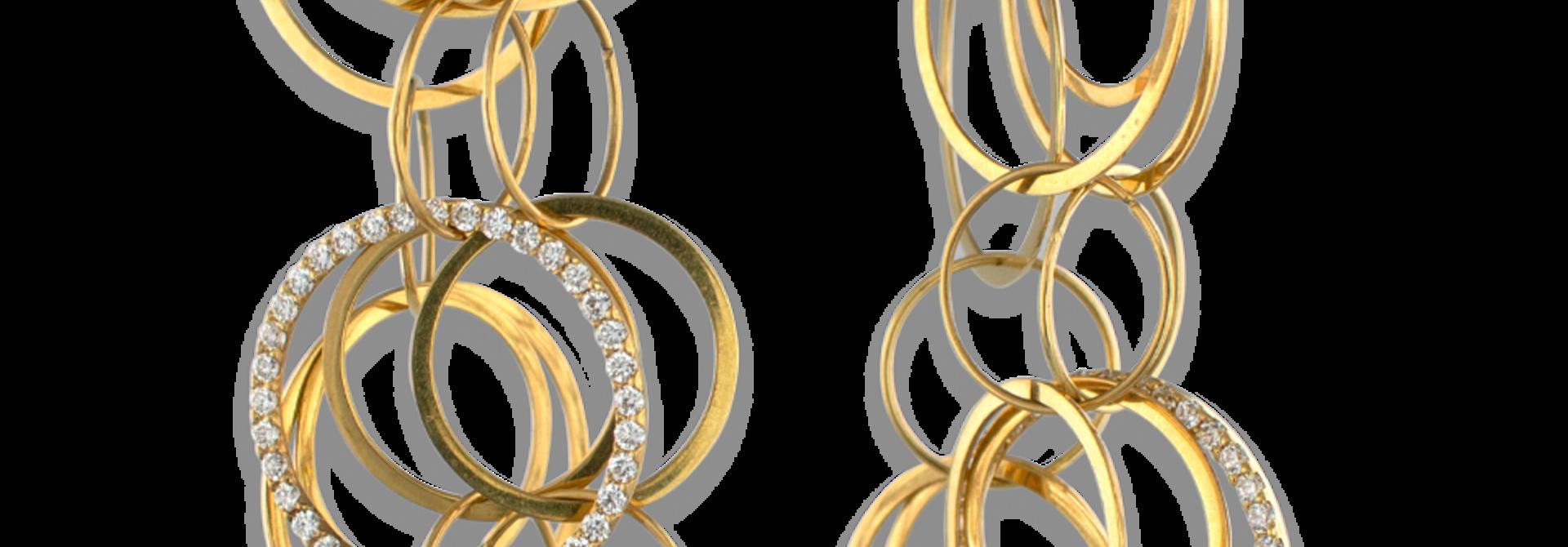 18k Gold and Diamond Multi-Hoop Link Earrings