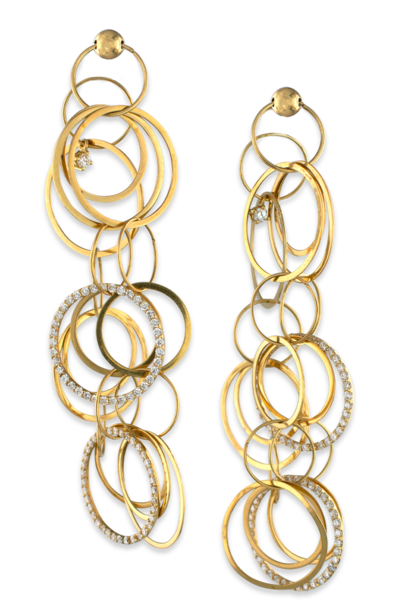 18k Gold and Diamond Multi-Hoop Link Earrings