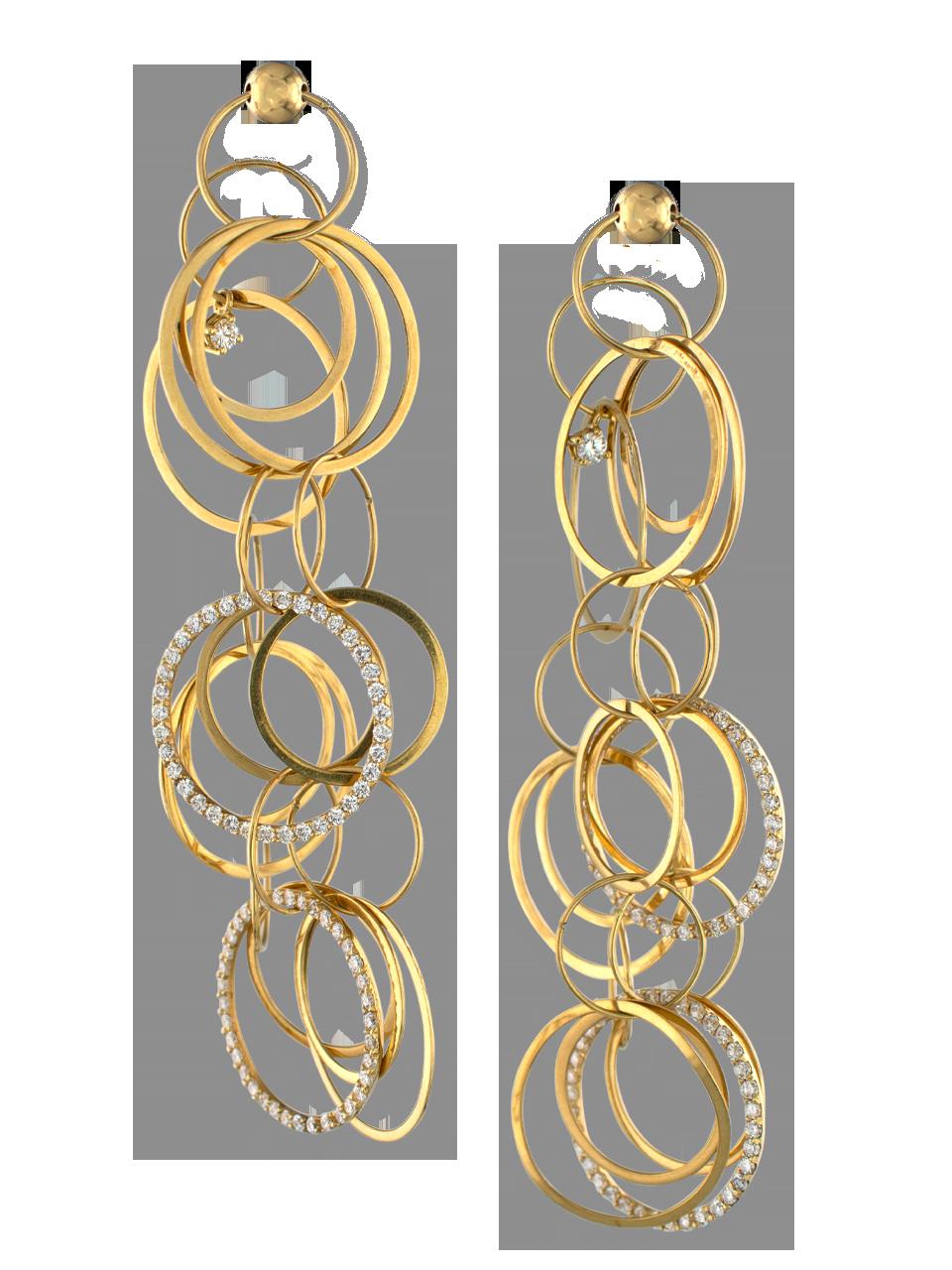 18k Gold and Diamond Multi-Hoop Link Earrings-1
