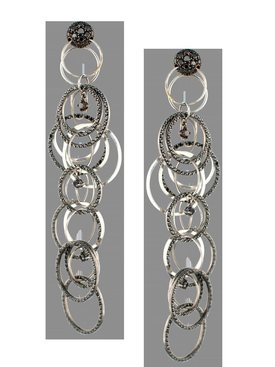 Black Diamond Multi Link Earrings-1