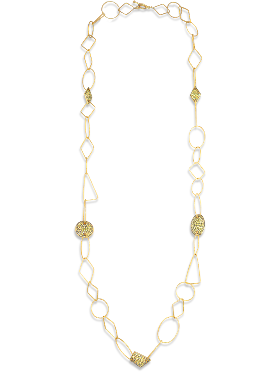 18k Gold Link Necklace with Yellow Diamonds-1
