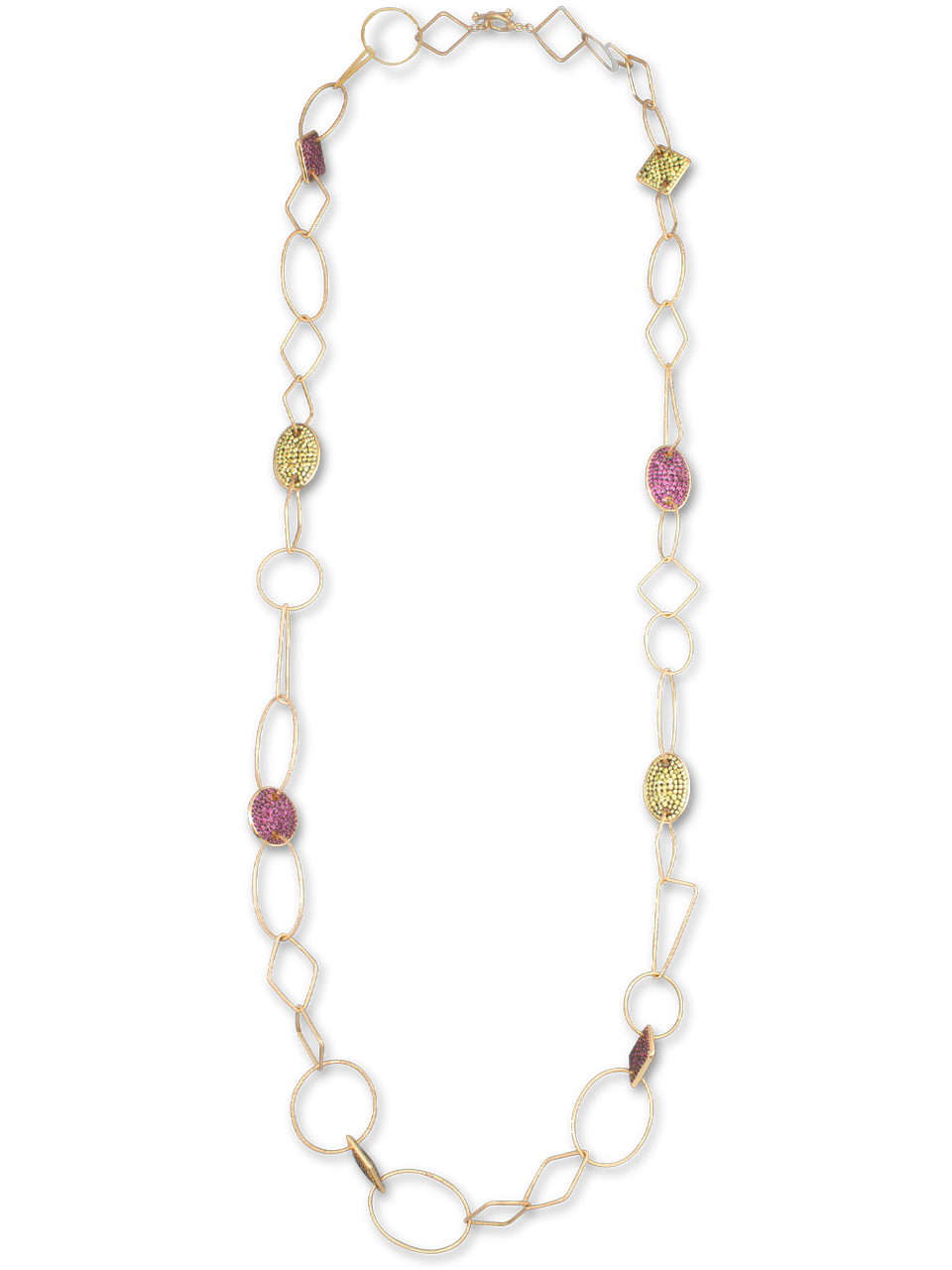 Pink & Yellow Sapphire Rose Gold Link Necklace-1