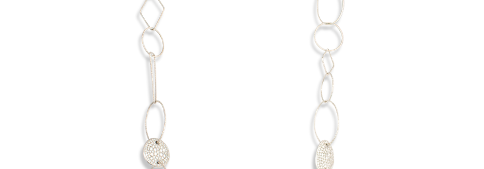 18k White Gold Link Necklace with Diamonds