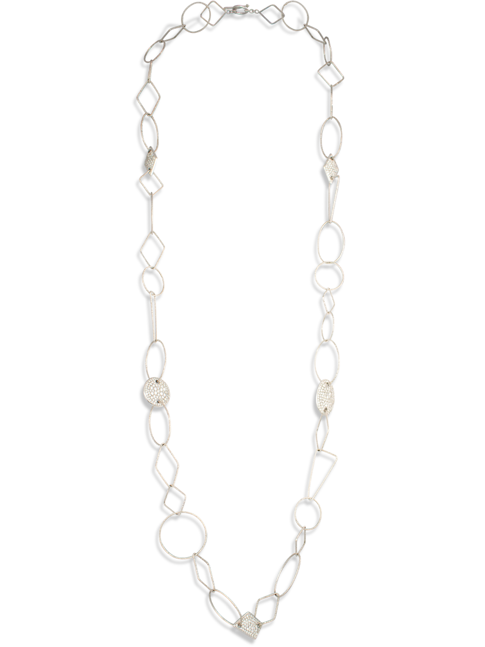 18k White Gold Link Necklace with Diamonds-1