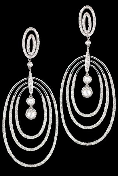 Multi Hoop Oval Diamond Earrings