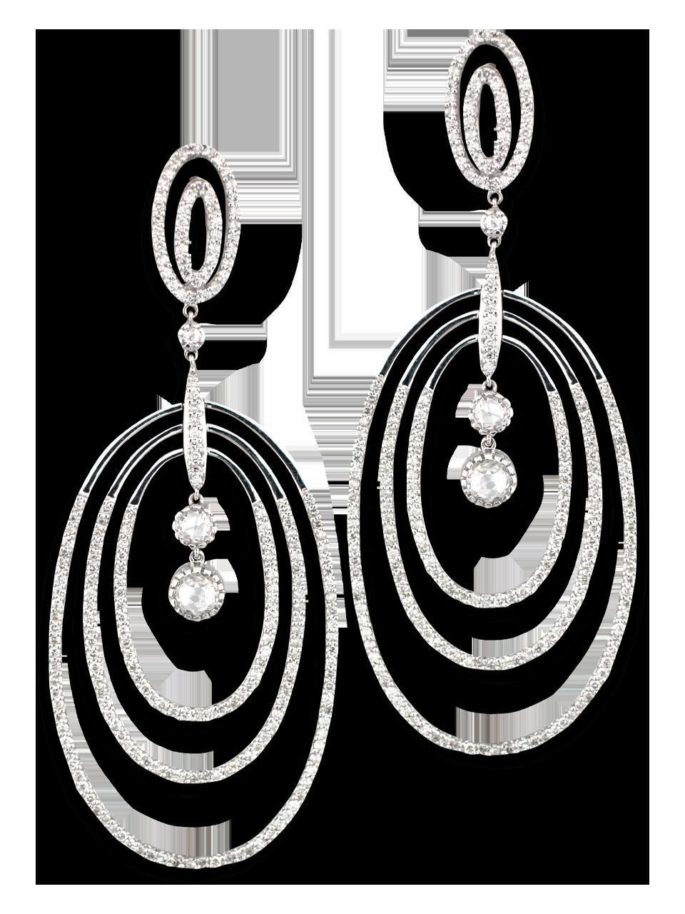 Multi Hoop Oval Diamond Earrings-1
