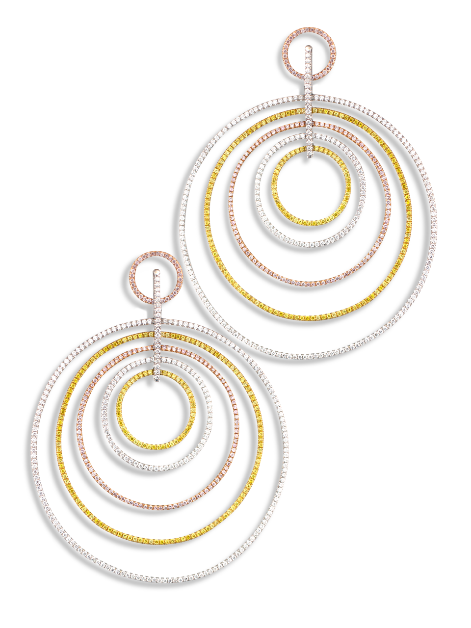 Multi Hoop Fancy Color Diamond  Earrings-1