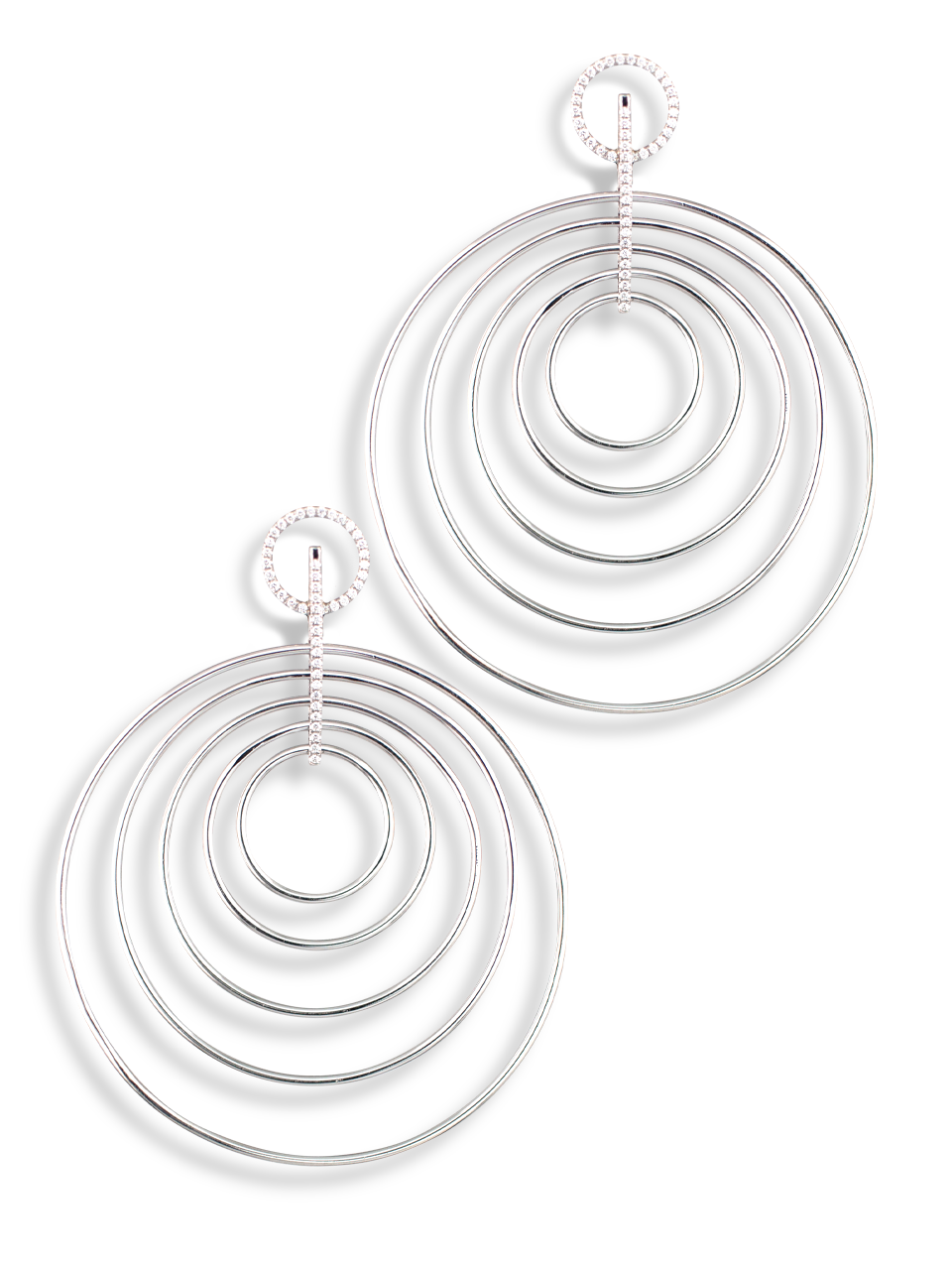 Multi Hoop White Diamond Earrings-1