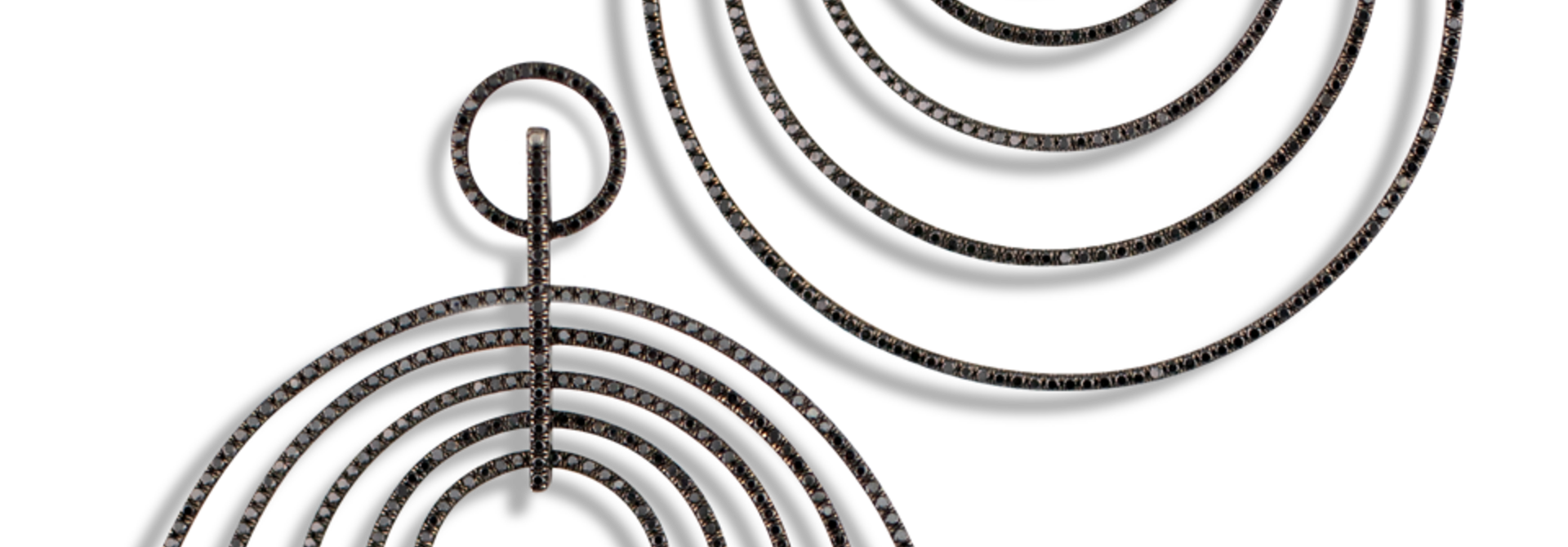 Multi Hoop Black Diamond Earrings