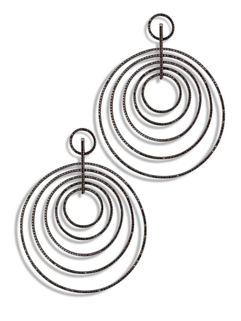 Multi Hoop Black Diamond Earrings-1