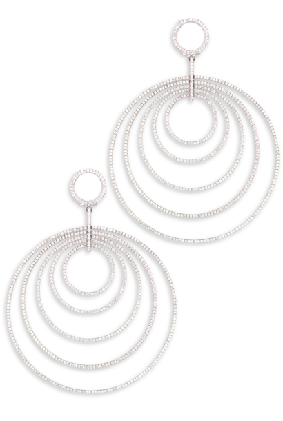 Multi Hoop White Diamond Earrings