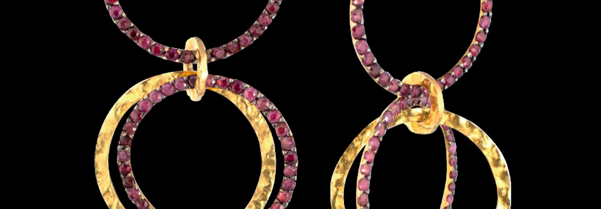 Multi Link Gold & Ruby Earrings