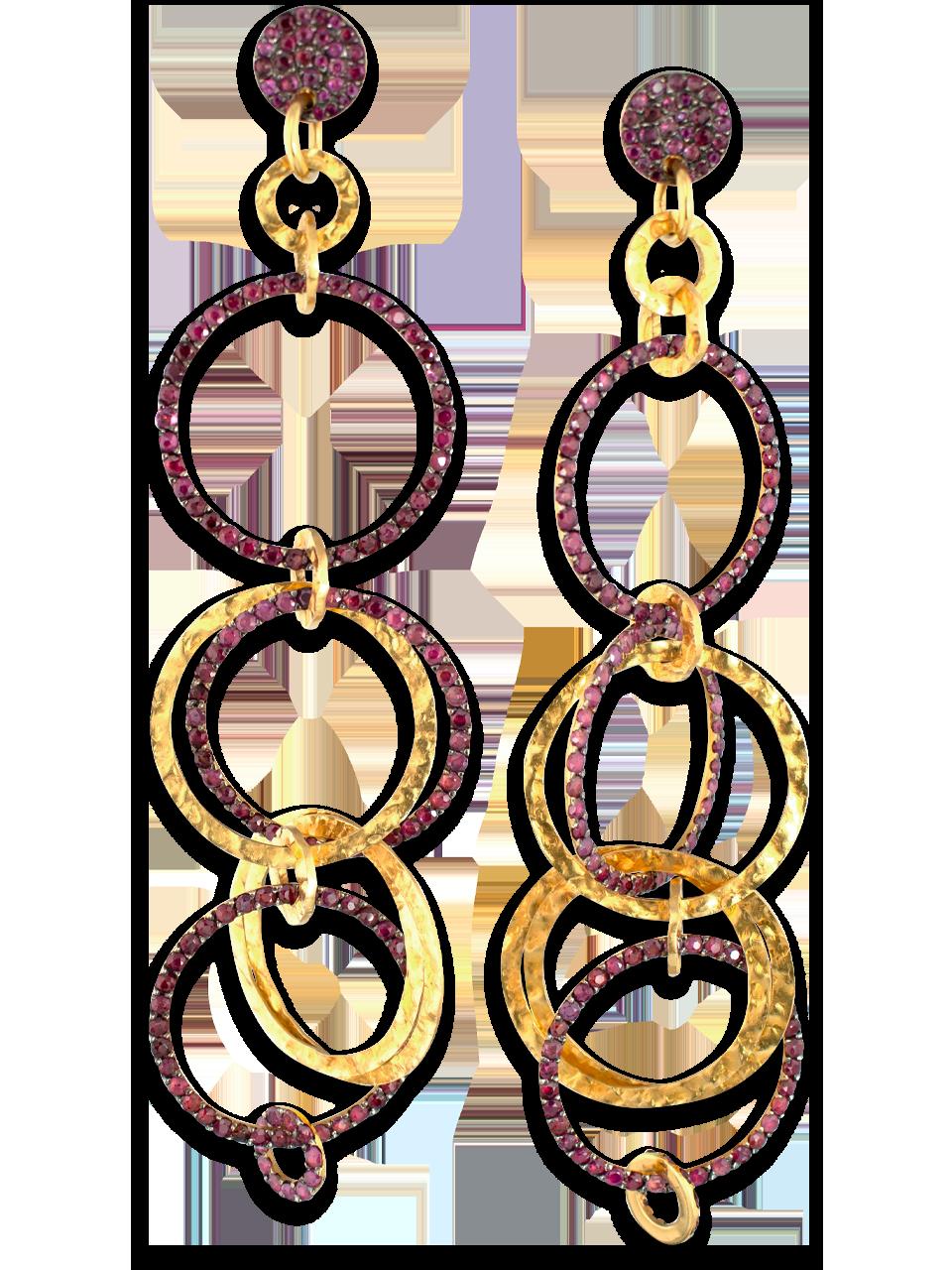 Multi Link Gold & Ruby Earrings-1