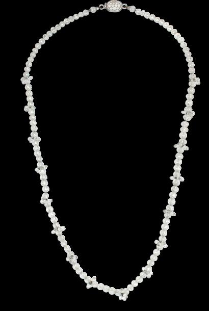 "White Diamond Bead Necklace - 16"""
