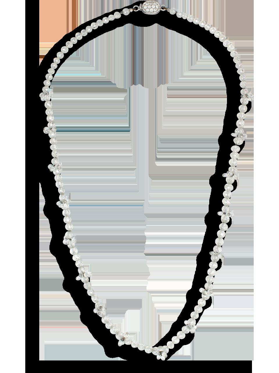 "White Diamond Bead Necklace - 16""-1"